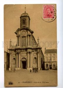 236453 BELGIUM CHARLEROI Church 1922 year RPPC to Ethiopia