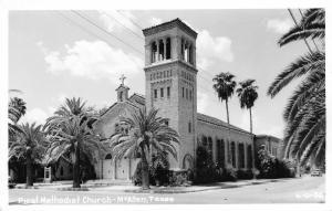 McAllen Texas~First Methodist Church~1940s Car~Real Photo Postcard~RPPC