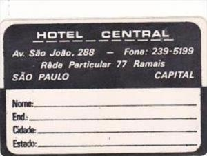 BRASIL SAO PAULO HOTEL CENTRAL VINTAGE LUGGAGE LABEL