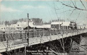 Waverly Iowa~Bremer Avenue Bridge~Homes in Background~1909 Blue Sky C U Williams