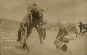 Pendleton OR Round Up Rodeo Cowgirl Bonnie McCarroll Thrown/Horse RPPC dcn