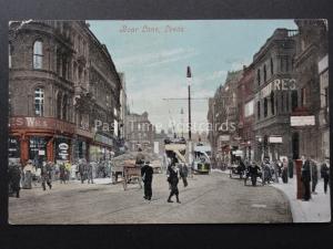 Yorkshire LEEDS Boar Lane BUSY ANIMATED STREET SCENE c1906 Postcard by Valentine