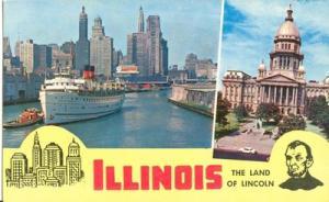 Illinois, The Land of Lincoln, unused Postcard