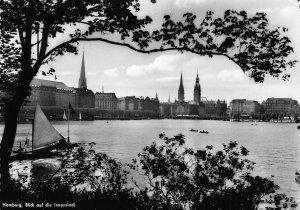 Hamburg Blick auf die Innenstadt Lake Boat Towers Partial view Postcard