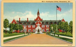 Montgomery, Alabama Postcard Huntingdon College Main Building Linen c1940s