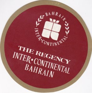 Bahrain Regency Inter-Continental Hotel Vintage Luggage Label lbl0193
