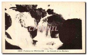 Old Postcard Vaucluse Fontalne La Cascade and Rocks