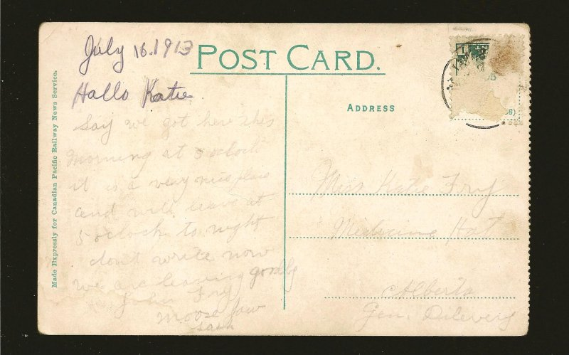 Canada Dated 1913 View in Crescent Park Moose Jaw Saskatchewan CPR Postcard
