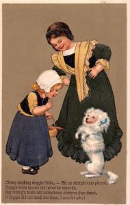 NETHERLANDS YOUNG GIRLS PLAY & TRAIN WHITE DOG~EMBOSSED POSTCARD c1910s