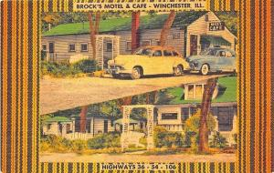 Winchester IL Brock's Motel & Cafe Old Cars Linen Postcard