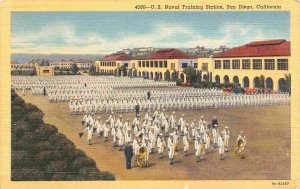 US Naval Training Station Navy Military San Diego California linen postcard