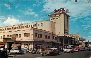 Ciudad Juarez Chih. Mexico~Mercado Juarez~Art Deco~Coca-Cola~1950s Cars~Postcard