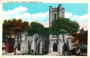 Wilmington Delaware St Pauls Methodist Episcopal Church Vintage Postcard