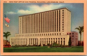Post Office and Federal Building Los Angeles California 1940s Vintage Postcard