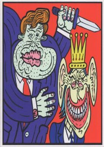 Prime Minister King Queen Comic Hand Signed Artist Postcard