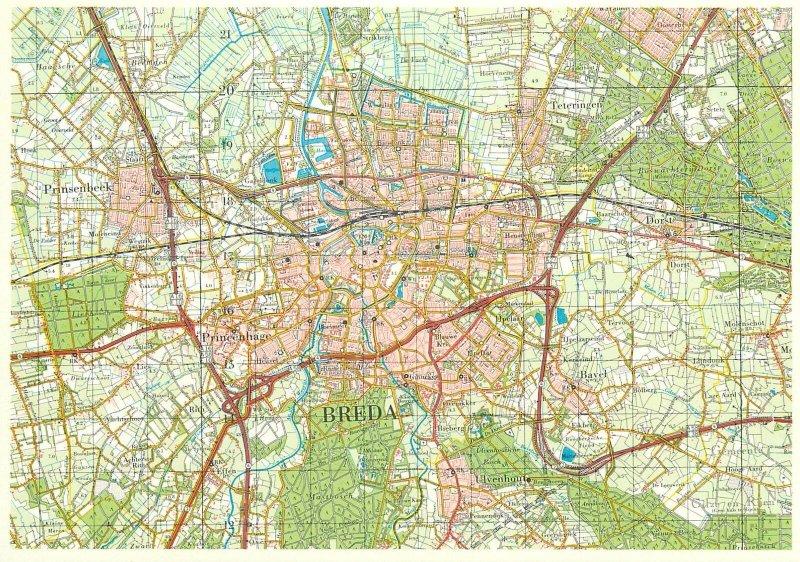 Postcard Netherlands ( MAP ) Breda map view