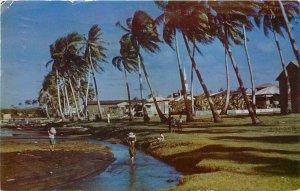 Vintage Postcard; Village Scene, Inarajan Guam, Children Carry Food Home