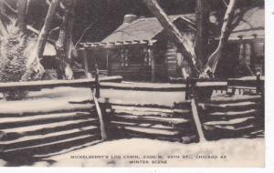 Illinois Chicago Mickelberry's Log Cabin Winter Scene