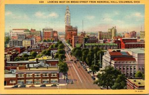 Ohio Columbus Looking West On Broad Street From Memorial Hall 1949 Curteich