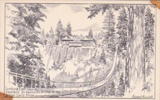 Looking East Over Capilano Suspension Bridge To Indian Curio Shop British Col...