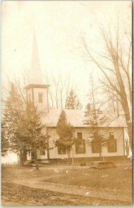 Nebraska RPPC Real Photo Postcard Church Building View 1907 LEWISTON NEB. Cancel