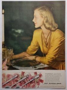 Beautiful Woman Rogers Silverplate 1946 LIFE Magazine Ad