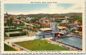 1940s BELO HORIZONTE Minas Gerais, Brazil Postcard Bird's-Eye View Linen Unused