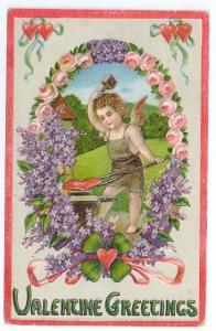 Cupid Cherub Blacksmith Anvil Heart Embossed Vintage Valentine Postcard 1923