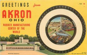 Curt Teich Linen Postcard Greetings Akron OH Rubber Manufacturing Goodyear Tire