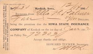 KEOKUK IOWA IOWA STATE INSURANCE COMPANY~PAYMENT RECEIPT POSTCARD 1901