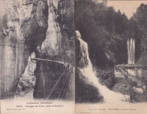 Lac D'Annecy Talliores Cascade Angon 2x French Old Postcard s