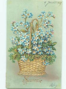 foreign 1907 Postcard BASKET OF FORGET-ME-NOT FLOWERS AC3126