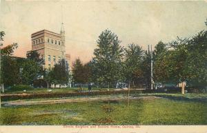 Quincy Illinois~Tall, Thin Turret @ Soldiers & Sailor's Home~Hedged Around c1910