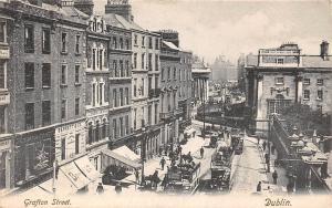 Ireland Dublin, Grafton Street, Carriages, Railroad Trams 1906