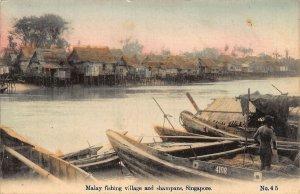 Singapore Malay fishing village and Shampans Boats Postcard