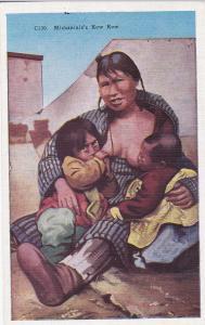 Eskimo Indian Mother Breast Feeding 2 babies, Alaska , 30-40s