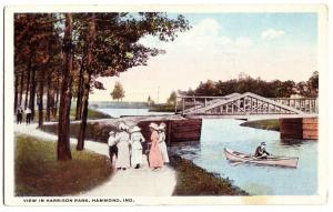 Old HAMMOND Indiana Ind Postcard Harrison Park Boat