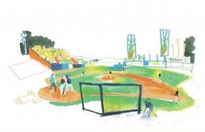 Santa Domingo Baseball Match Dominican Republic Painting Postcard