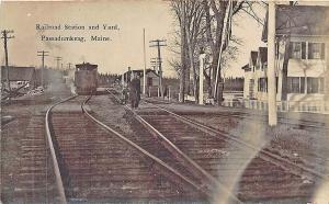Passadumkeag ME Railroad Station Train Depot RPPC Postcard