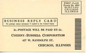 U. S. Postal Card - Business Reply Mail Card to Cherry-Burrell Corp., Chicago
