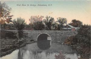 Johnstown New York~West Main Street Bridge over Stream~House Bknd~1908 Postcard