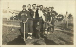 Baseball Team Posing - Crookston NE Written on Back c1910 Real Photo Postcard
