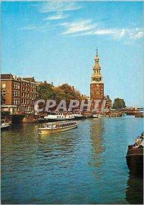 Postcard Modern Amsterdam Holland Oude Schans Tour Montelbaan on boat Peniche