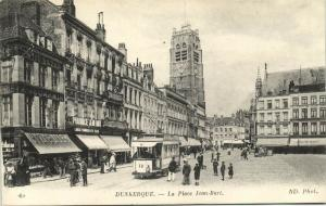 france, DUNKERQUE DUNKIRK, La Place Jean-Bart, Tram Streetcar Line 12 (1920s)