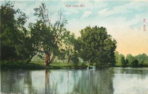 Pine Lake Wisconsin~Pine Lake~Shoreline Trees Reflect~1908 Postcard