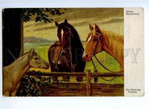 176970 HORSES Family FOAL by WECZERZICK Vintage color PC