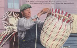 A Cherokee Indian Basket Maker On Cherokee Indian, Reservation Adjoining Grea...