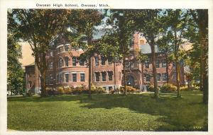 Owosso Michigan~Trees Cast Their Shadow Before High School 1920s Postcard