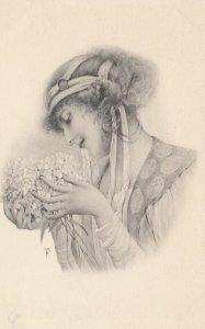 M.M.VIENNE : Woman in Art Nouveau Headdress Portrait #3 , 1901-07