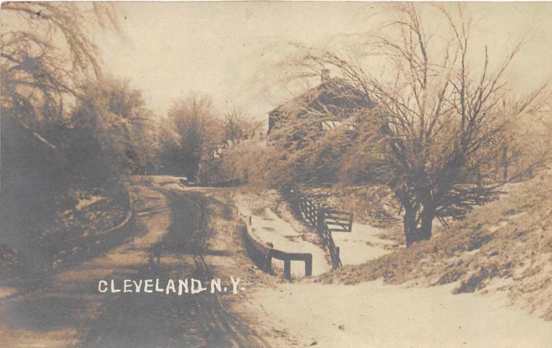 Cleveland New York~Winter Scene in Country~Snow on Trees-Bridge~c1910 RPPC